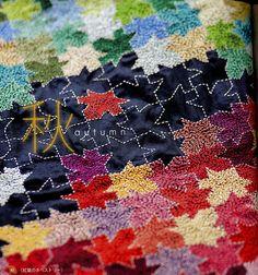 sashiko tesselation.  Amazing little stitches make up each little leaf.  Love this.   zakka