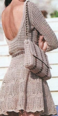 Hand Crocheted Long Sleeve Dress With Scooped Neck - Made to Order Crochet Lace Dress, Crochet Flowers, Hand Crochet, Knit Dress, Knit Crochet, Crochet Clothes, Free Knitting, Crochet Projects, Crochet Patterns