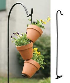 """17"""" tall, 16"""" inside shown with three 4¼"""" terra cotta pots or your choice of other sizes. To assemble, thread the top of the hook through the hole in the base of the pot. Continue stacking the pots. T"""