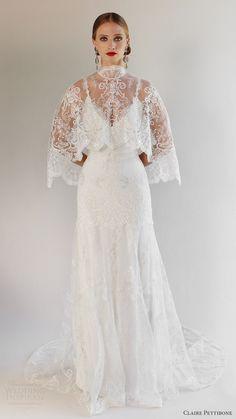 CLAIRE PETTIBONE bridal spring 2017 sleeveless spaghetti straps vneck trumpet…