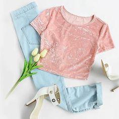 Crushed Velvet T-shirt Valentine Pink Short Sleeve Crop Top 62f30ee52