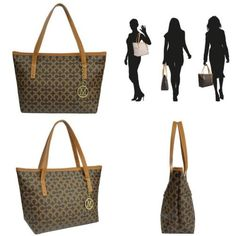 0d9918e02 MICOM Casual Signature Printing Pu Leather Tote Shoulder Handbag with Metal  Deco