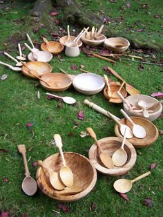 Handmade wooden bowls and spoons