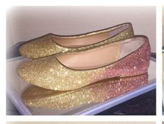 Gold To Rose Ombré Fade Glitter Sparkly Ballet Ballerina Flats Shoes By Crystalcleatss