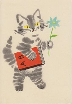 "kritseldis: "" A postcard for start of new school year by artist L.Härm, 1968 A striped cat is a well known teacher of Estonian children, as everyone knows the verse: Meie kiisul kriimud silmad, istus..."