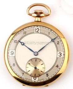 A 9ct gold cased pocket watch, circa 1935, the silvered arabic dial with retailers name Northern Goldsmiths, Newcastle upon Tyne, fitted with a Buren movement, 51.7g gross, in original fitted case. #wtch