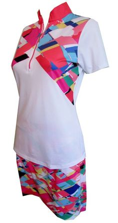 If you're in the market for some new outfits, consider our women's apparel! Shop this comfortable and stylish SHANGRI LA (White Multi) EP New York Ladies & Plus Size Golf Outfit (Shirt & Skort) from Lori's Golf Shoppe.