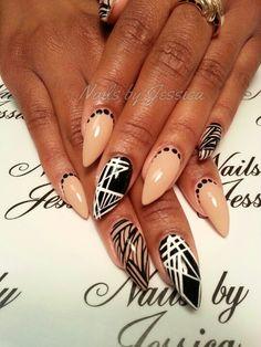 Stiletto nails - nude, white and black designs