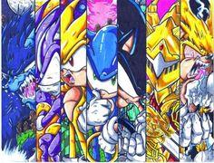 Weresonic, Darkspine Sonic, Super Sonic, Sonic, Dark Sonic, Excalibur Sonic and Fleetway Sonic.