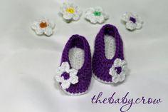 Crochet Baby Booties in Bright Purple!