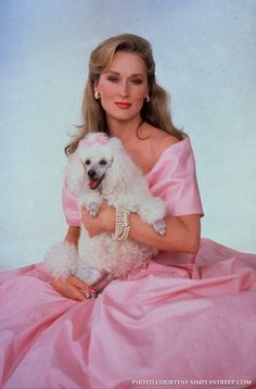 Meryl Streep and her white poodle :) (1989)