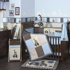 Simple fun baby boy crib bedding. Modern whimsical blue and brown boy crib bedding. Lambs & Ivy Jake baby crib bedding.