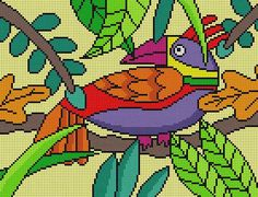 Cross Stitch Bird, Cross Stitch Designs, Cross Stitch Patterns, Alpha Patterns, Bird Patterns, Needlepoint Stitches, Needlework, Stain Glass Cross, Christmas Cross