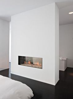 bedroom Inspiration with fireplace (and behind the fireplace I want a walk-in closet!)