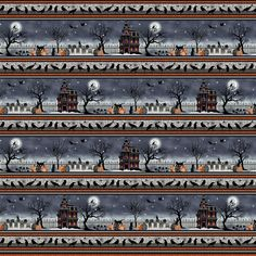 Spooky Night Black Border Fabric by Grace Popp - Studio e Fabrics | My Favorite Quilt Store Halloween Fabric, Scary Halloween, Panel Quilts, Cotton Quilting Fabric, Ebay Auction, Fabric Panels, Damask Patterns, Night, Harvest Moon