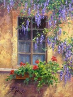 In today's post I share with you an oil painting demo   the old window surrounded by Wisteria and geraniums growing in a planter box using a direct method of painting