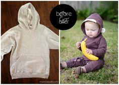 MENS SWEATSHIRT TO BABY JUMPSUIT REFASHION (CURIOUS GEORGE HALLOWEEN COSTUME) - Merricks Art