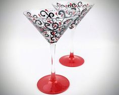 Hand Painted 12 oz Martini Glass - Red and Black Swirl Design - Fancy Cocktail Glass - Unique Martini - Personalized