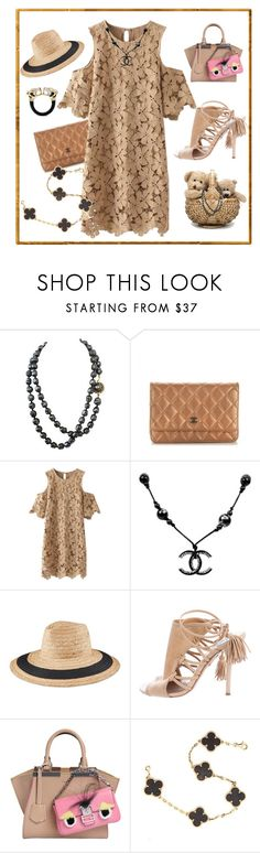 """Cold shoulder dress"" by ellenfischerbeauty ❤ liked on Polyvore featuring Chanel, Vince Camuto, Aquazzura, Fendi, Van Cleef & Arpels and John Hardy"