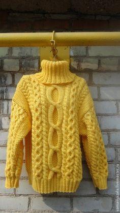 Кофты и свитера ручной работы. Вязаный толстый свитер SOL. Наталия. Интернет-магазин Ярмарка Мастеров. Желтый, свитер теплый