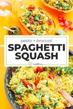 Whip up this quick and tasty pesto spaghetti squash bowl to pack in the vegetables without compromising on delicious flavor. It's a flavor packed healthy dinner recipe that's low carb and perfect for the whole family. #spaghettisquash #vegetarian #lowcarb #dinner #healthyrecipe Low Carb Vegetarian Recipes, Healthy Dinner Recipes, Beef Recipes, Vegan Recipes, Healthy Meals, Chicken Recipes, Healthy Food, Pesto Spaghetti Squash, Pinterest Recipes