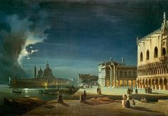 Ippolito Caffi - Venice by Moonlight. Ca. 1700s I guess from the clothes.