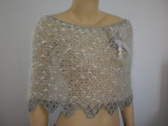 Hand knit  Crochet Lace Capelet - Shoulder Warmer - Fall Fashion - Neck Warmer