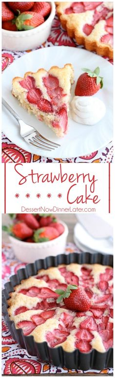 This Strawberry Cake is lightly sweet, layered with fresh sliced strawberries, and is served with a side of coconut whipped cream. A stunning and delicious dessert for any occasion or Valentine's Day. On MyRecipeMagic.com