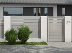View our domain for lots more in regard to this spectacular glass garage doors House Fence Design, Modern Fence Design, Front Gate Design, Home Entrance Decor, House Entrance, Fence Styles, Brick Fence, Round House, Facade House