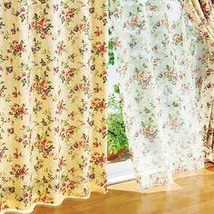 ジャカードプリントフラワー総柄遮光カーテン&同柄ボイルセット