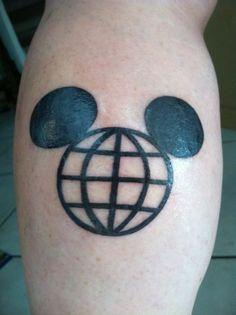 Disney World tattoo, Mickey Mouse Tattoo Mickey Tattoo, Disney Tattoos, Disney Sleeve, Mouse Tattoos, World Tattoo, Deathly Hallows Tattoo, I Tattoo, Tatting, Piercings