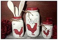 Rooster chicken kitchen sets, red rooster soap dispenser, rooster cookie jar, rooster utensil holder,  country, rustic,mason jar canisters. by CrystolsCountryKraft on Etsy https://www.etsy.com/listing/455078994/rooster-chicken-kitchen-sets-red-rooster