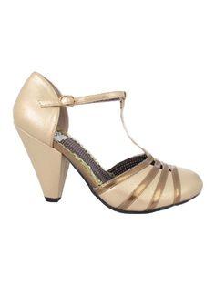 f0d0a22fa4d47e Shimmery Gold T Strap #DressPumps #TStrapShoes Vintage Inspired Shoes,  Vintage Shoes, Cap