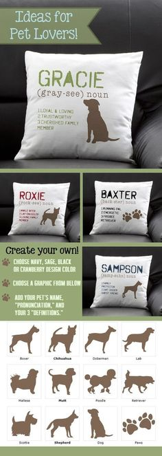 "I love how you can personalize it with your own pet's name ""pronunciation"" and ""definition"" so you can fit it with your pet's personality perfectly! This site has the greatest pet gifts or gifts for pet lovers! I want these pillows but for kitties Fu Dog, Dog Cat, Pet Pet, I Love Dogs, Puppy Love, Dachshund Funny, Funny Pets, Dog Throw, Personalized Pillows"