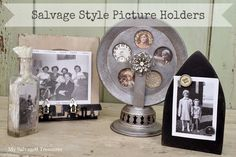 Picture holders made from salvaged junk.