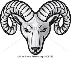 Vector - head of the ram (ram head) - stock illustration, royalty free illustrations, stock clip art icon, stock clipart icons, logo, line art, EPS picture, pictures, graphic, graphics, drawing, drawings, vector image, artwork, EPS vector art