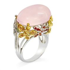 Rhodium Plated 925 Sterling Silver Ring with Rose Quartz and Fancy Sapphires