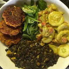 Today's Lunchbox: black beans avo tomato cucumber salad turmeric and lemon  spinach salad  and gluten free sweet potato latkes this will be on repeat and again @tiffani_rmoore #foodie #eatclean #cooking #lunch