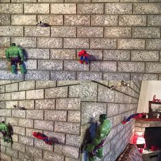 Impossible is nothing when you are six years old and your toys are #superheroes My boy got creative and anti-gravitational #superherostuff #art #wall #creativity #mondaymotivation #impossibleisnothing