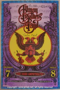 1997 Allman Brothers Band - Red Rocks Concert Poster by Emek