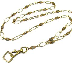 ID Badge Lanyard with Brass Celtic Beads by byBrendaElaine on Etsy