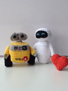 Wall-e & Eva #crochet #amigurumi valentines day.