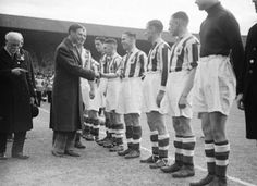 Preston 1 Huddersfield 0 in April 1938 at Wembley. The Huddersfield players line up to meet King Edward at the FA Cup Final. Huddersfield Town Fc, Tom Wilson, Preston North End, Fa Cup Final, Wembley Stadium, Previous Year, Manchester United, Lineup