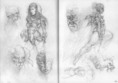 Just a double page from my A5 sketchbook. 2mm clutch pencil and a 0.3mm propelling pencil