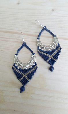 Macrame earrings lapis lazouli