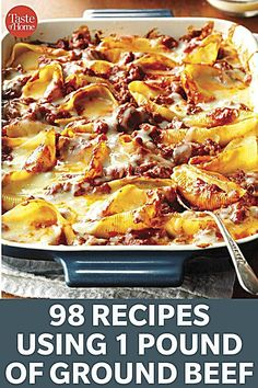 98 Recipes Using 1 Pound Of Ground Beef Spice it up and try one of our versatile recipes tonight. - 98 Recipes Using 1 Pound of Ground Beef Recipes Using Ground Beef, Ground Beef Recipes For Dinner, Dinner With Ground Beef, Ground Chuck Recipes Dinners, Minced Beef Recipes Easy, Ground Beef Crockpot Recipes, Mince Recipes, Hamburger Meat Recipes, Cooking Recipes