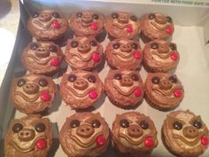 Chocolate with mocha frosting sloth cupcakes