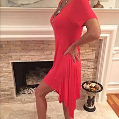 Pink midi shark tail hemline dress! Flash Sale!! Available in S-M-L Lovely color-pretty shark bite hem- short sleeve flowy beautiful dress!! Dresses Midi