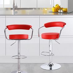 Adeco Red Faux Leather, Curved Back, Chrome Arms and Base, Adjustable Barstools (Set of 2)