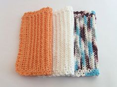 Crochet Dishcloths White Peach Blue Purple by TalicakeCrochet